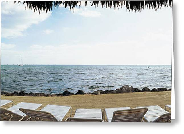 Empty Beach Chairs On The Beach, Key Greeting Card by Panoramic Images