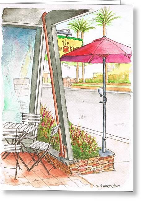 Empty Table In A Coffee House, Laguna Beach, California Greeting Card by Carlos G Groppa