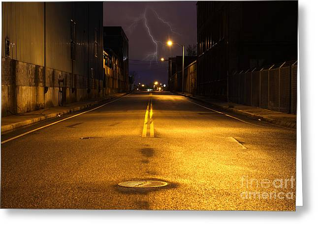 Empty City Street At Night With Lighting Strike Greeting Card by Denis Tangney Jr