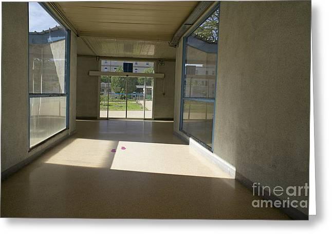 Empty Corridor At Public Hospital Greeting Card by Sami Sarkis
