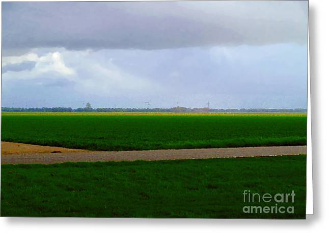 Greeting Card featuring the digital art Empty Green by Luc Van de Steeg