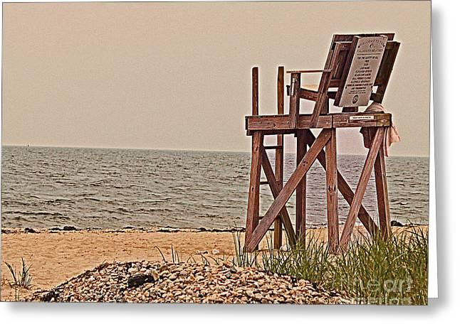 Empty Lifeguard Chair Greeting Card by Rita Brown