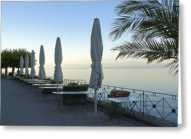 Empty Promenade In The Morning Meersburg Lake Constance Greeting Card