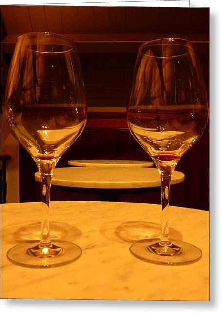 Empty Red Wine Glasses Greeting Card