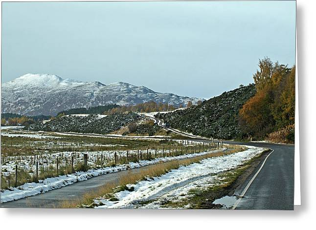 Empty Scottish Roads In The Highlands Greeting Card