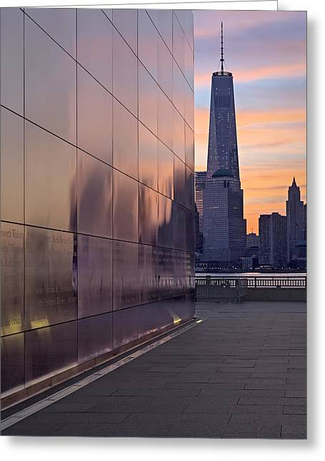 Empty Sky Memorial And Freedom Tower Sunrise Greeting Card