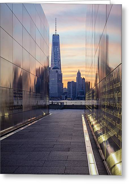 Empty Sky Memorial And The Freedom Tower Greeting Card by Susan Candelario