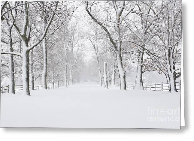 Empty Snow Covered Road Greeting Card