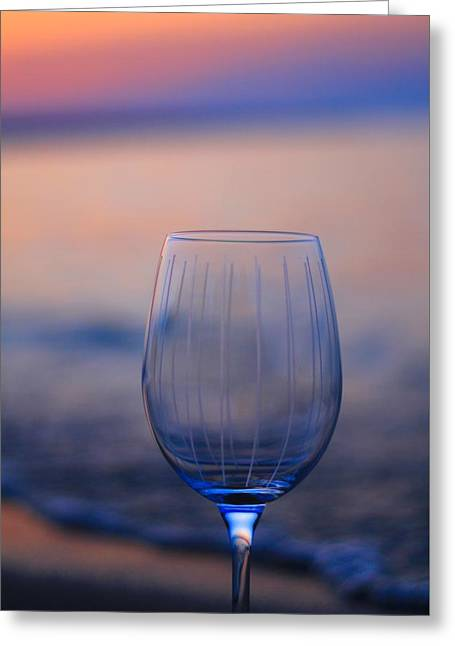 Empty Wine Glass At Sunset Greeting Card