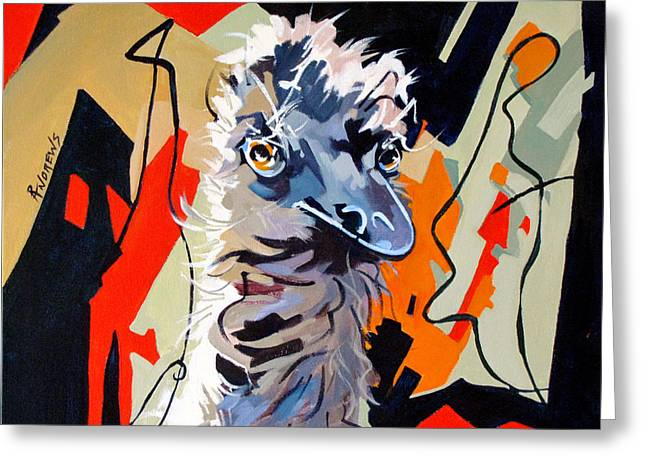 Emu Design In Acrylic Greeting Card by Rae Andrews