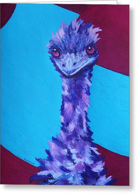 Greeting Card featuring the painting Emu Eyes by Margaret Saheed