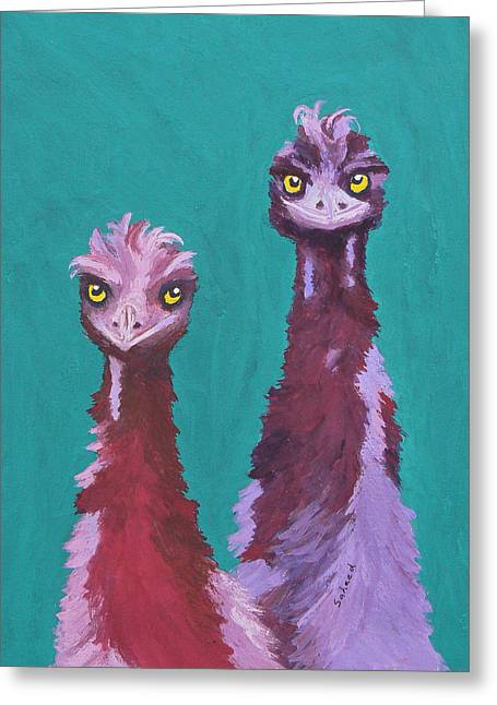Greeting Card featuring the painting Emu Watch by Margaret Saheed