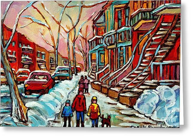 En Hiver Streets Of Verdun Walking The Dog Snowy Streets Montreal Winter City Scene Carole Spandau Greeting Card by Carole Spandau