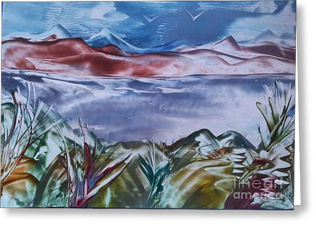 Encaustic Art 2 Greeting Card by Debra Piro