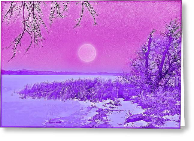 Greeting Card featuring the digital art Rosy Hued Moonlit Lake - Boulder County Colorado by Joel Bruce Wallach