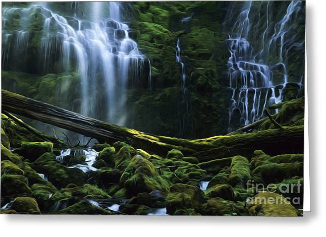 Enchanted Spaces Proxy Falls Oregon Greeting Card