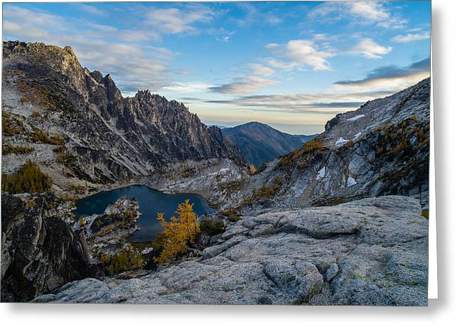 Enchantments Crystal Lake Fall Colors Greeting Card by Mike Reid
