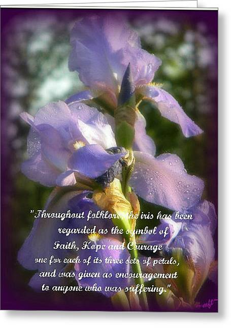 Greeting Card featuring the photograph Encouraging Iris by Michelle Frizzell-Thompson