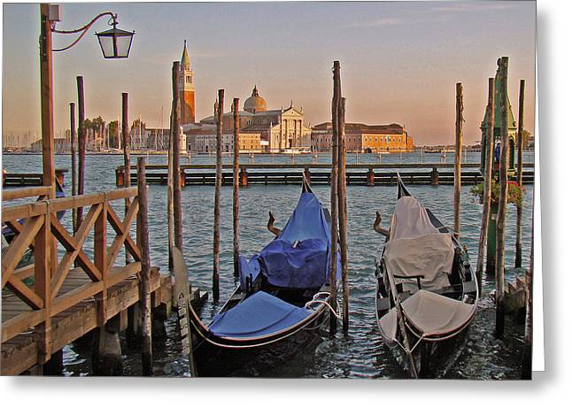 Greeting Card featuring the photograph Venice End Of A Day by Walter Fahmy