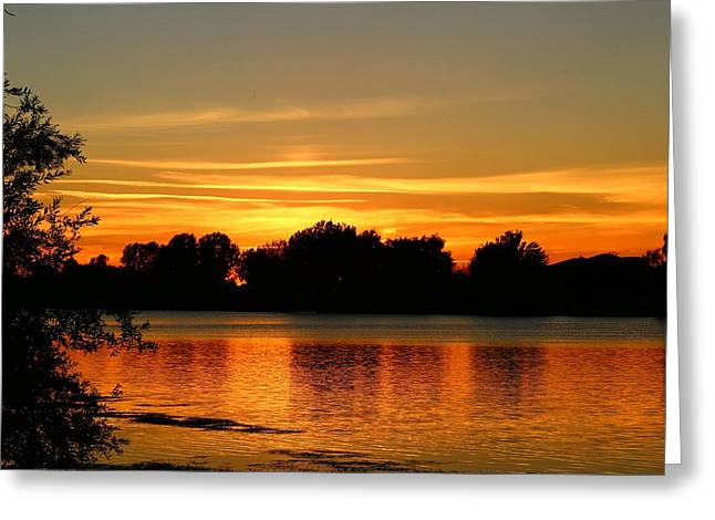 Greeting Card featuring the photograph End Of Summer Sunset by Lynn Hopwood