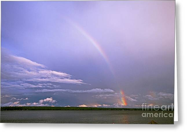 End Of The Rainbow Sebago Lake Maine Greeting Card by Butch Lombardi