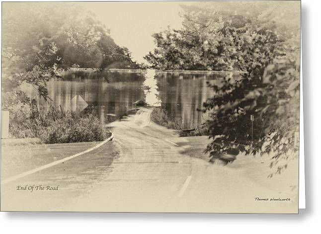 End Of The Road Merged Image Greeting Card by Thomas Woolworth