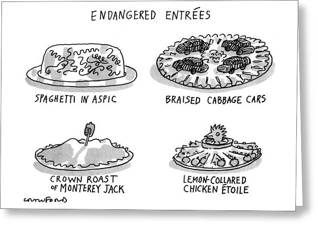 Endangered Entrees Greeting Card by Michael Crawfor