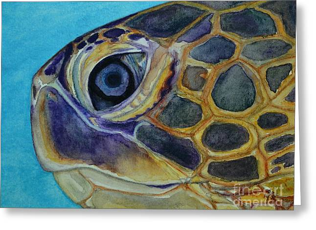 Greeting Card featuring the painting Eye Of The Honu by Suzette Kallen