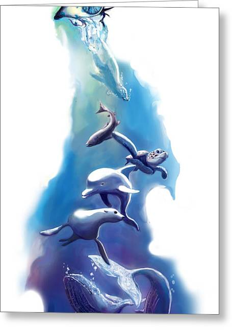 endangered sea life Water colour giclee print with eye and sea mammals Ocean Tears Greeting Card