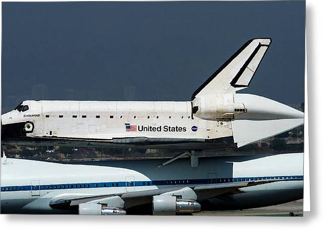 Endeavor Taxi's In Lax After Final Flight Greeting Card by Denise Dube