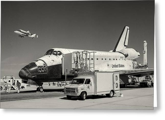 Endeavour With Columbia Ferry Flyby 2 Greeting Card