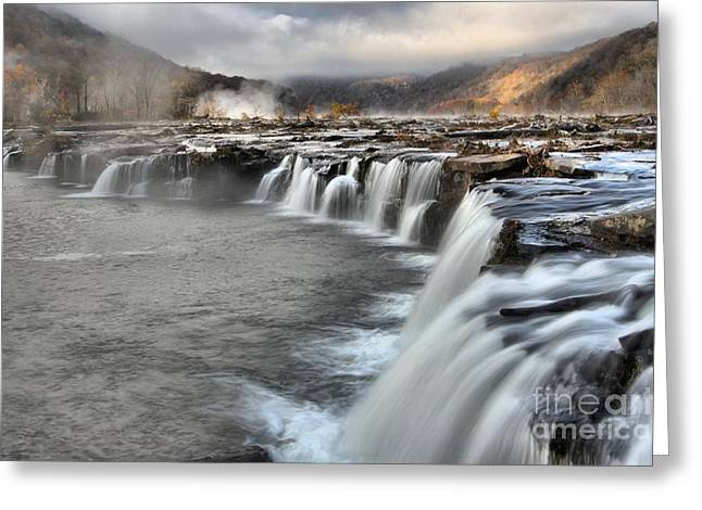 Endless Streams Over Sandstone Falls Greeting Card by Adam Jewell