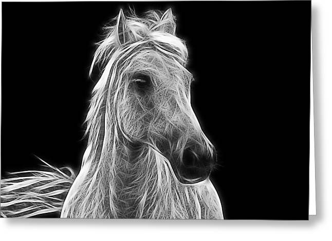 Energetic White Horse Greeting Card by Joachim G Pinkawa