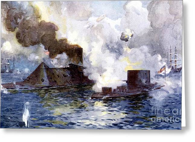 Engagement Between The Confederate Ironclad Merrimac Also Called Virginia And Monitor Greeting Card by American School
