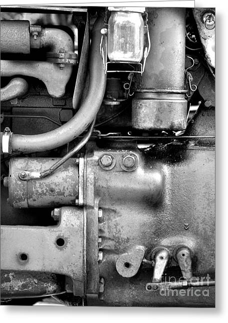 Engine Black And White Greeting Card