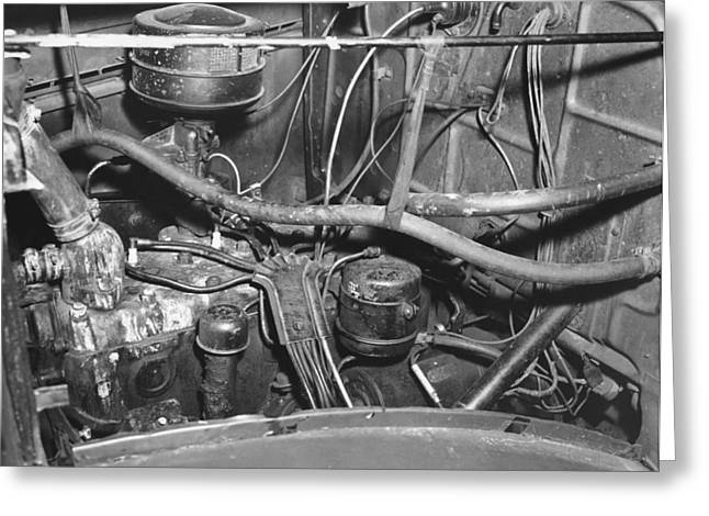 Engine Compartment Of A Car Greeting Card by Underwood Archives