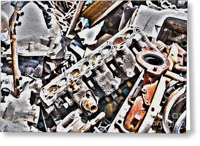 Engine For Parts - Automotive Recycling Greeting Card by Crystal Harman