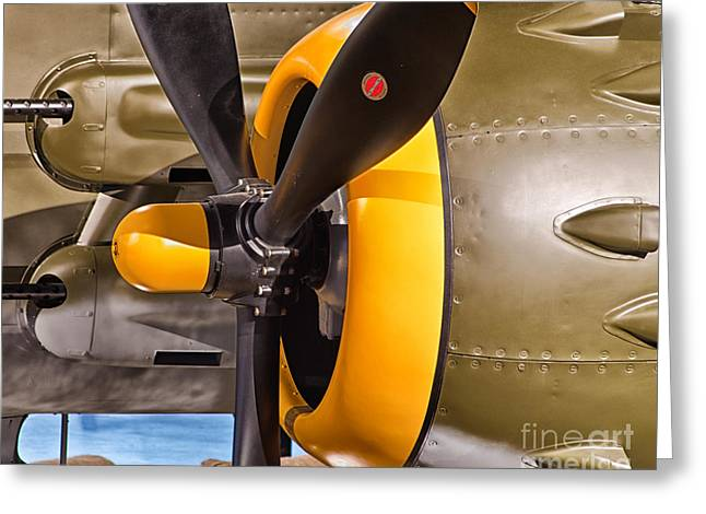 Engine Of North American B-25j Mitchell Greeting Card by JRP Photography