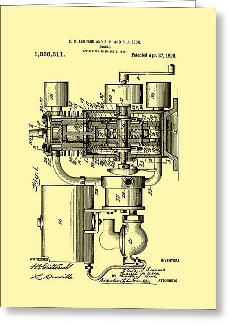 Engine Patent 1920 Greeting Card by Mountain Dreams