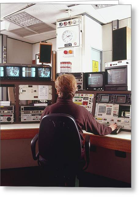 Engineer Siting In Front Of Control Panel Greeting Card by Dorling Kindersley/uig