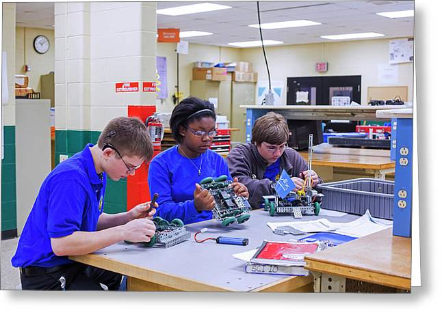 Engineering Academy Robotics Students Greeting Card by Jim West