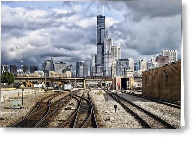 Engineers View Entering Chicago From The South On The Metra Sws Line Greeting Card by Thomas Woolworth