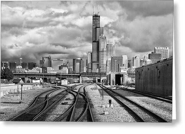 Engineers View Entering Chicago On The Metra Sws Line Bw Greeting Card by Thomas Woolworth