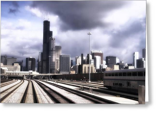 Engineers View Of Sears Willis Tower On The Metra Sws Line 01 Greeting Card by Thomas Woolworth