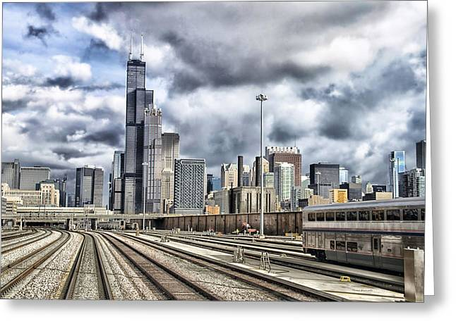 Engineers View Of Sears Willis Tower On The Metra Sws Line Hdr Greeting Card by Thomas Woolworth