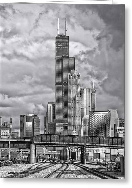 Engineers View On The Metra Sws Line Sears Willis Tower Bw Greeting Card by Thomas Woolworth