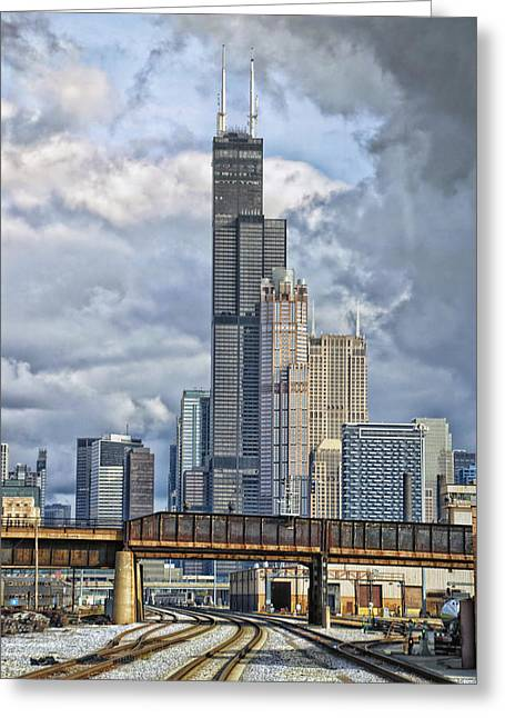 Engineers View On The Metra Sws Line Sears Willis Tower Hdr Greeting Card by Thomas Woolworth
