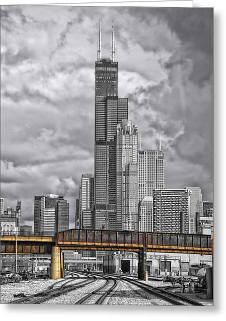 Engineers View On The Metra Sws Line Sears Willis Tower Sc Greeting Card by Thomas Woolworth