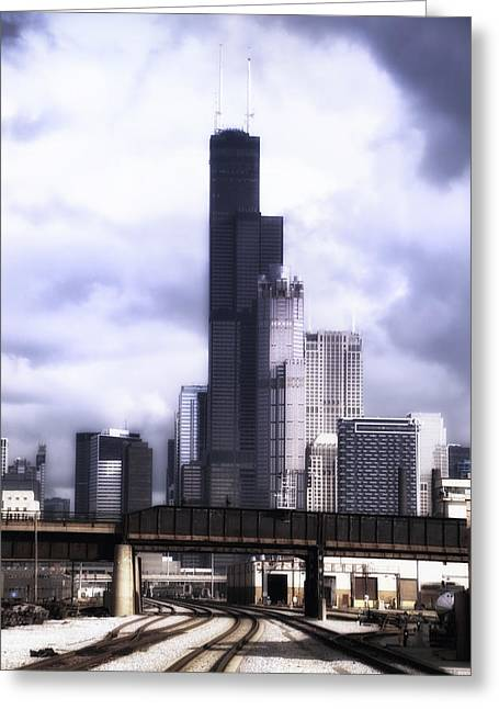 Engineers View On The Metra Sws Line Sears Willis Tower Greeting Card by Thomas Woolworth