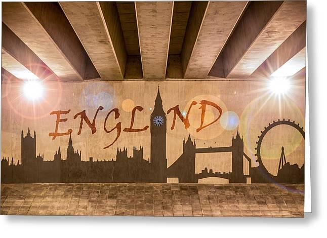 England Graffiti Landmarks Greeting Card